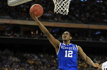 HOUSTON, TX - APRIL 02:  Brandon Knight #12 of the Kentucky Wildcats goes to the basket against the Connecticut Huskies during the National Semifinal game of the 2011 NCAA Division I Men's Basketball Championship at Reliant Stadium on April 2, 2011 in Hou