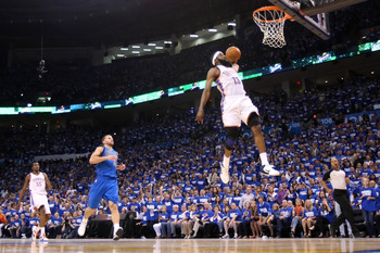 OKLAHOMA CITY, OK - MAY 21:  James Harden #13 of the Oklahoma City Thunder dunks the ball in the fourth quarter while taking on the Dallas Mavericks in Game Three of the Western Conference Finals during the 2011 NBA Playoffs at Oklahoma City Arena on May