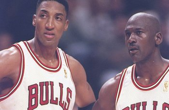 6 May 1997:  Guard Michael Jordan #23 and forward Scottie Pippen #33 of the Chicago Bulls stand on the court during a playoff game against the Atlanta Hawks at the United Center in Chicago, Illinois.  The Bulls won the game 100-97.   Mandatory Credit: Jon