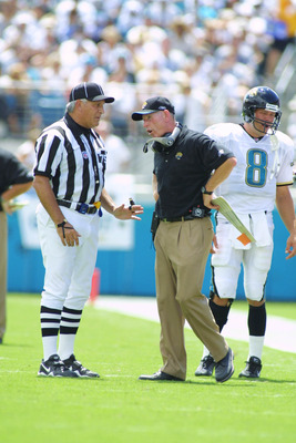09 Sep 2001:  A replacement official discusses a call with Jaguar Head Coach Tom Coughlin during the game between the Pittsburgh Steelers and the Jacksonville Jaguars at Alltel Stadium in Jacksonville, Florida.  The Jaguars defeated the Steelers 21-3. DIG