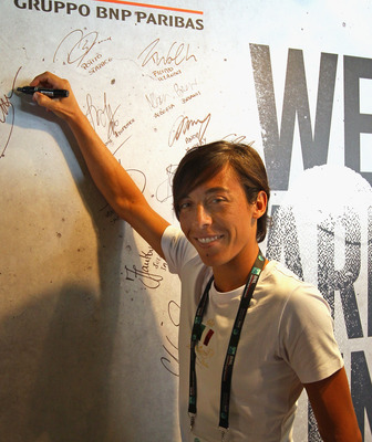 ROME, ITALY - MAY 11:  Francesca Schiavone of Italy signs the autograph wall in the BNL sponsors lounge area during day four of the Internazionali BNL d'Italia at the Foro Italico Tennis Centreon May 11, 2011 in Rome, Italy.  (Photo by Alex Livesey/Getty