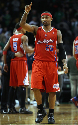 BOSTON, MA - MARCH 09:  Mo Williams #25 of the Los Angeles Clippers celebrates the win on March 9, 2011 at the TD Garden in Boston, Massachusetts. The Los Angeles Clippers defeated the Boston Celtics 108-103. NOTE TO USER: User expressly acknowledges and