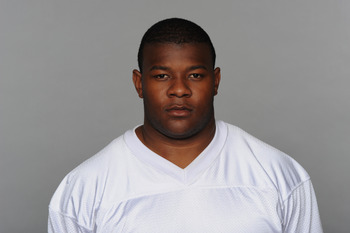 MIAMI, FL - CIRCA 2010: In this handout image provided by the NFL,  John Jerry of the Miami Dolphins poses for his 2010 NFL headshot circa 2010 in Miami, Florida. (Photo by NFL via Getty Images)
