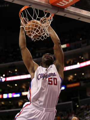 LOS ANGELES, CA - FEBRUARY 2:   Ike Diogu #50 of  the Los Angeles Clippers dunks against the Chicago Bulls at Staples Center on February 2, 2011  in Los Angeles, California. The Bulls won 106-88.  NOTE TO USER: User expressly acknowledges and agrees that,