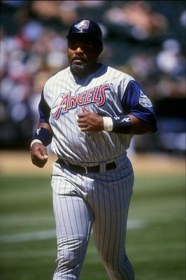 14 Jul 1998:  Infielder Cecil Fielder #45 of the Anaheim Angels in action during a game against the Oakland Athletics at the Oakland Coliseum in Oakland, California.  The Athletics defeated the Angels 6-2. Mandatory Credit: Otto Greule Jr.  /Allsport