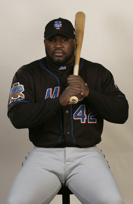 PORT ST. LUCIE, FL - FEBRUARY 25: Mo Vaughn of the New York Mets poses for a portrait during media day at Thomas J. White Stadium on February 25, 2003 in Port St. Lucie, Florida.  (Photo by Fernando Medina/Getty Images)