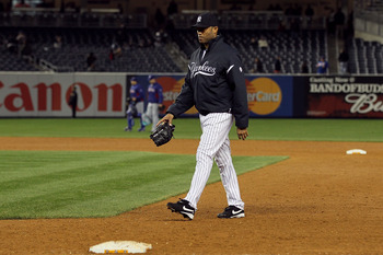 NEW YORK - OCTOBER 19:  Mariano Rivera #42 of of the New York Yankees walks dejected from the bullpen back to the dugout after the Yankees lost 10-3 against the Texas Rangers in Game Four of the ALCS during the 2010 MLB Playoffs at Yankee Stadium on Octob