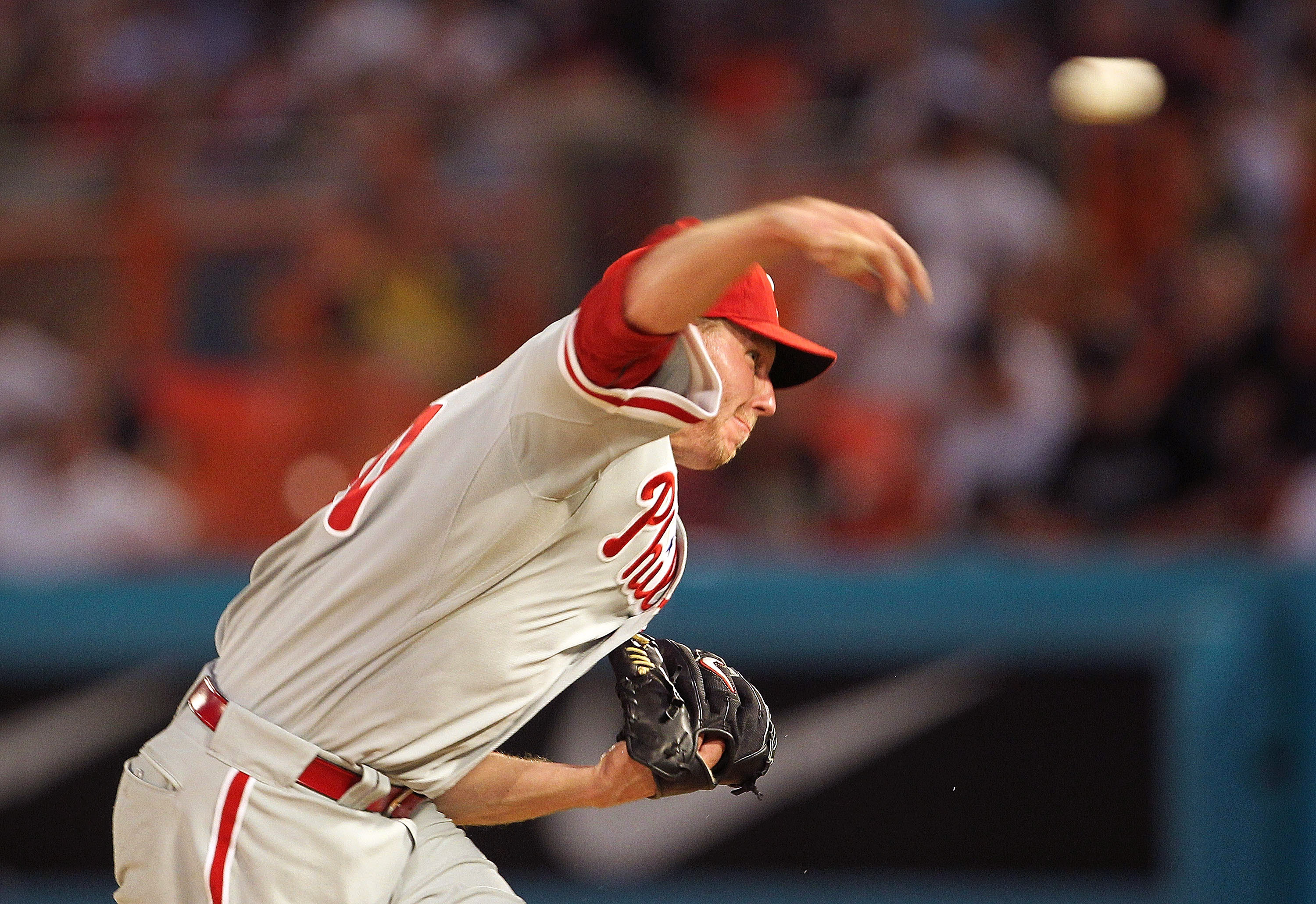 MIAMI GARDENS, FL - MAY 10:  Roy Halladay #34 of the Philadelphia Phillies pitches during a game against the Florida Marlins at Sun Life Stadium on May 10, 2011 in Miami Gardens, Florida.  (Photo by Mike Ehrmann/Getty Images)