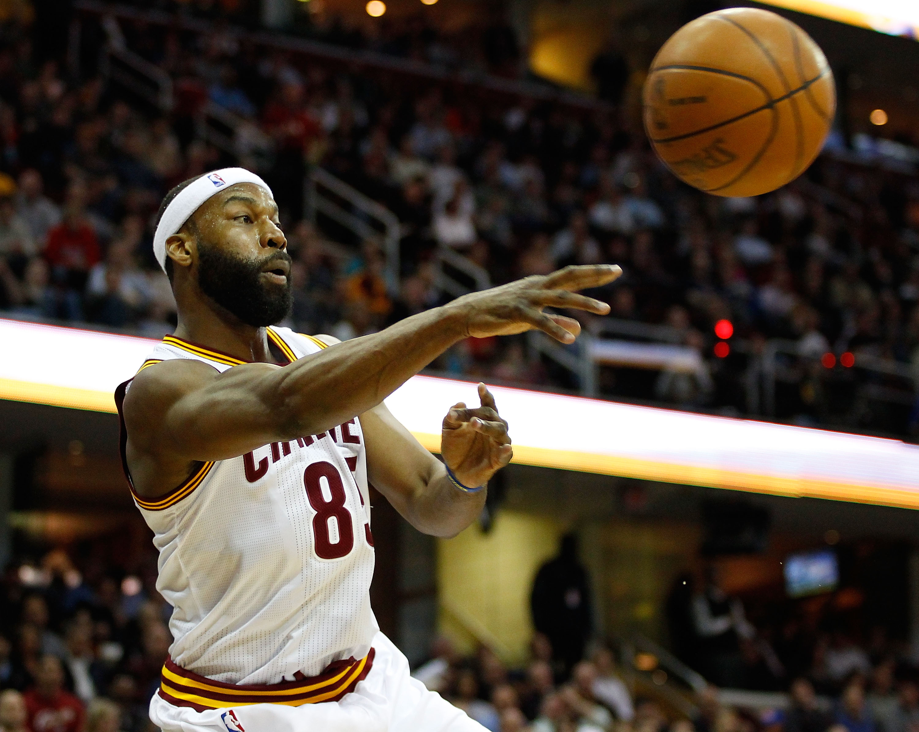 CLEVELAND - MARCH 29: Baron Davis #85 of the Cleveland Cavaliers keeps the ball inbounds during the game against the Miami Heat on March 29, 2011 at Quicken Loans Arena in Cleveland, Ohio. NOTE TO USER: User expressly acknowledges and agrees that, by down