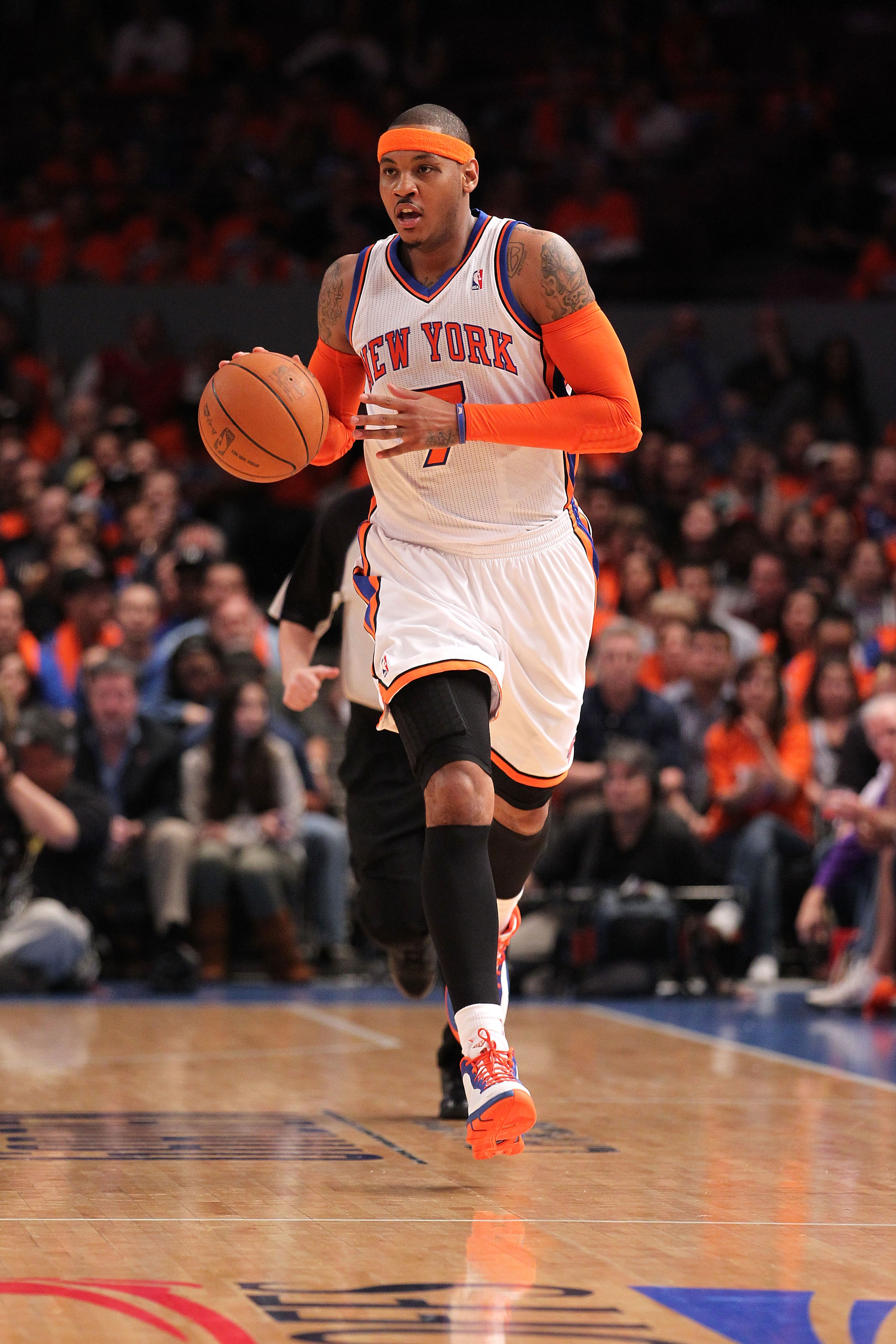 NEW YORK, NY - APRIL 24:  Carmelo Anthony #7 of the New York Knicks brings the ball up court agaist the Boston Celtics in Game Four of the Eastern Conference Quarterfinals during the 2011 NBA Playoffs on April 24, 2011 at Madison Square Garden in New York