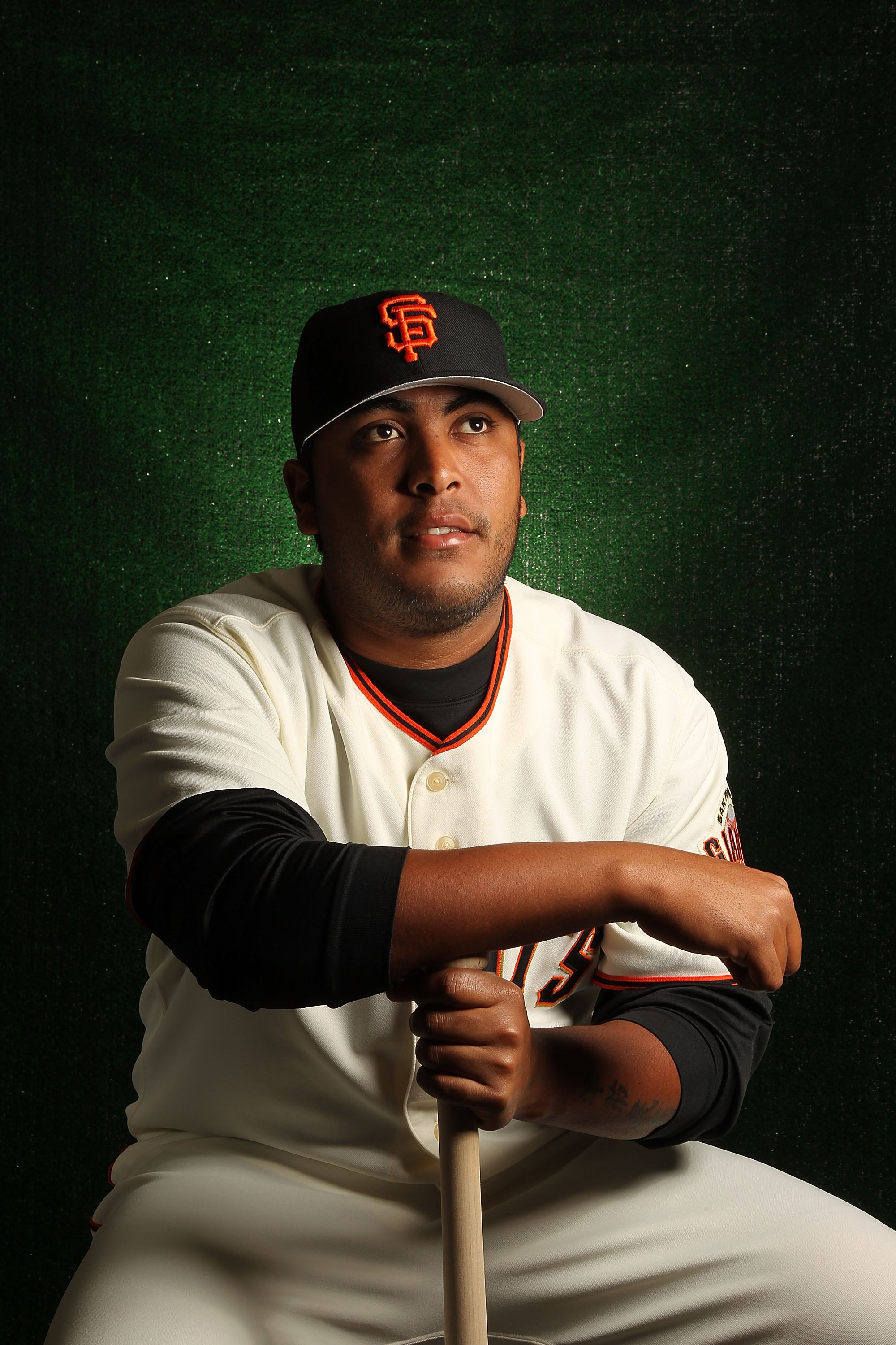 SCOTTSDALE, AZ - FEBRUARY 28:  Hector Sanchez of the San Francisco Giants poses during media photo day on February 28, 2010 at Scottsdale Stadium in Scottsdale, Arizona.  (Photo by Jed Jacobsohn/Getty Images)