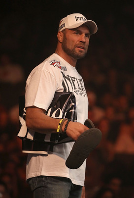 PHOENIX - AUGUST 13:  Randy Couture watches the Strikeforce Challengers Main Card bout at Dodge Theater on August 13, 2010 in Phoenix, Arizona.  (Photo by Christian Petersen/Getty Images)