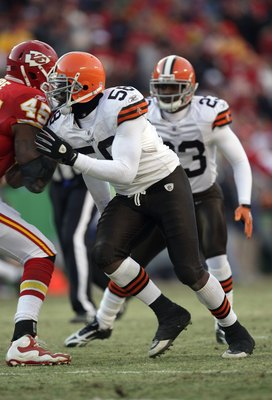 KANSAS CITY, MO - DECEMBER 20:  Marcus Benard #58 of the Cleveland Browns plays his defensive position during their NFL game against the Kansas City Chiefs on December 20, 2009 at Arrowhead Stadium in Kansas City, Missouri. The Browns defeated the Chiefs