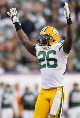 EAST RUTHERFORD, NJ - OCTOBER 31:  Charlie Peprah #26 of the Green Bay Packers in action against the New York Jets on October 31, 2010 at the New Meadowlands Stadium in East Rutherford, New Jersey.The Packers defeated the Jets 9-0.  (Photo by Jim McIsaac/