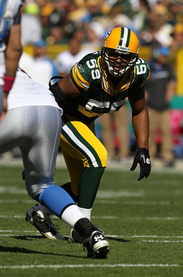 GREEN BAY, WI - OCTOBER 03: Brad Jones #59 of the Green Bay Packers awaits the start of play against the Detroit Lions at Lambeau Field on October 3, 2010 in Green Bay, Wisconsin. The Packers defeated the Lions 28-26. (Photo by Jonathan Daniel/Getty Image
