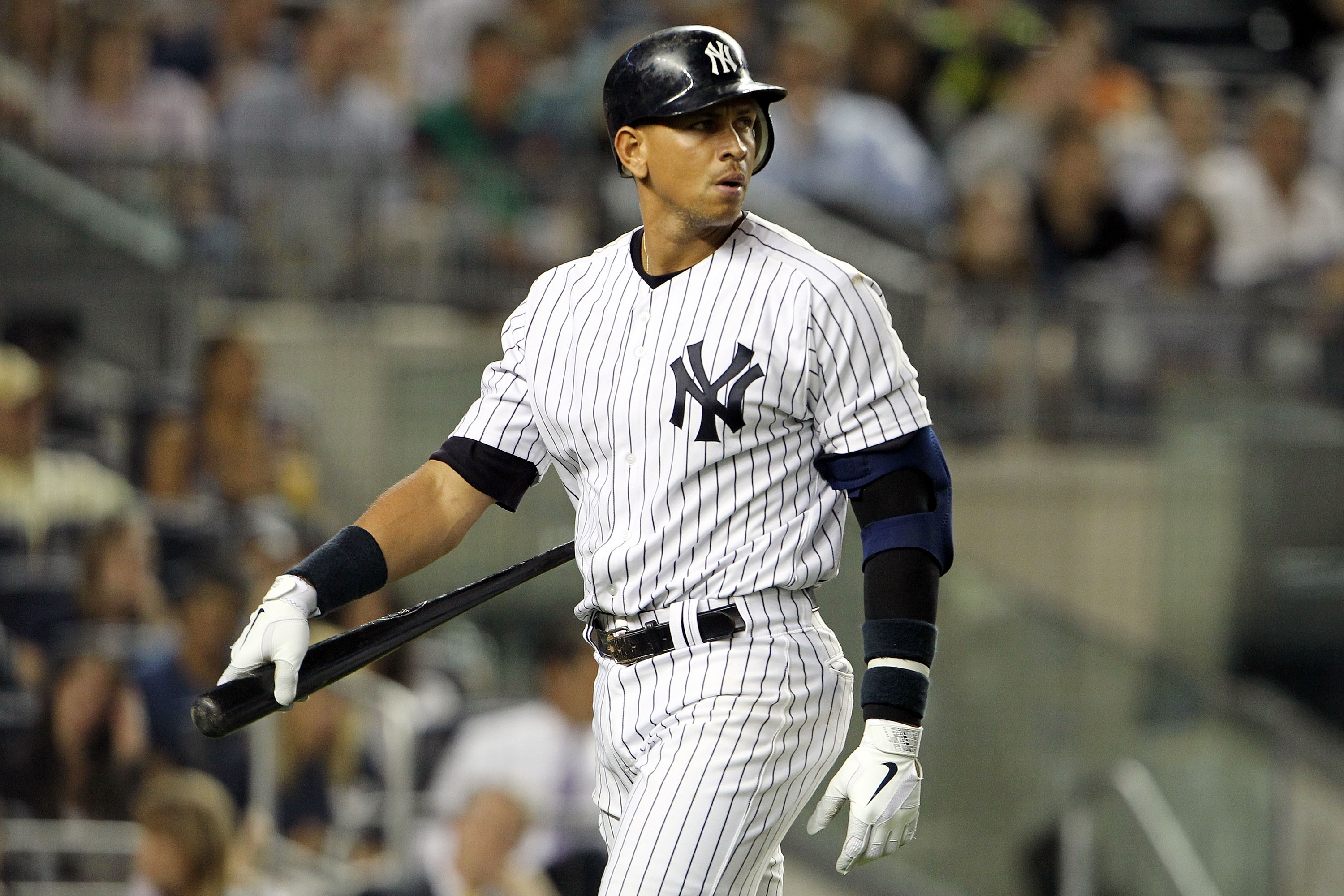 NEW YORK, NY - MAY 24:  Alex Rodriguez #13 of the New York Yankees looks after striking out against the Toronto Blue Jays at Yankee Stadium on May 24, 2011 in the Bronx borough of New York City.  (Photo by Michael Heiman/Getty Images)