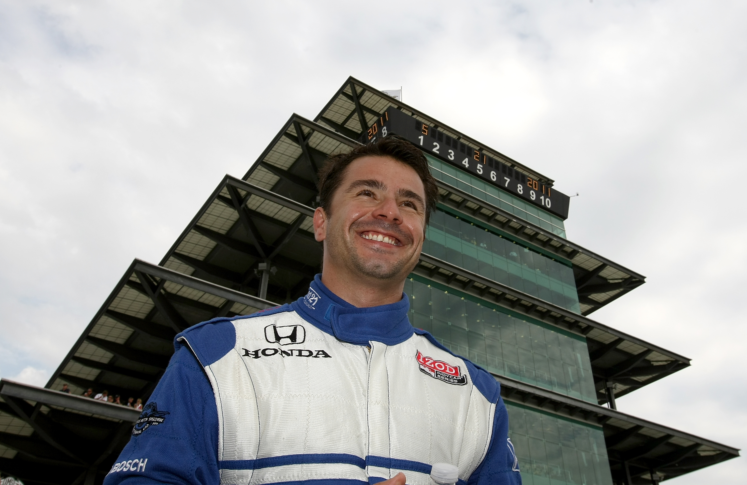 INDIANAPOLIS, IN- MAY 21: Oriol Servia, driver of the #2 Telemundo Newman Haas Racing Dallara Honda smiles during qualifying for the the 95th Indianapolis 500 Mile Race at the Indianapolis Motor Speedway on May 21, 2011 in Indianapolis, Indiana.  (Photo b