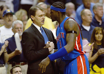 INDIANAPOLIS - MAY 22:  Head coach Rick Carlisle of the Indiana Pacers greets former Pacer Ben Wallace #3 of the Detroit Pistons before Game one of the Eastern Conference Finals during the 2004 NBA Playoffs at Conseco Fieldhouse on May 22, 2004 in Indiana