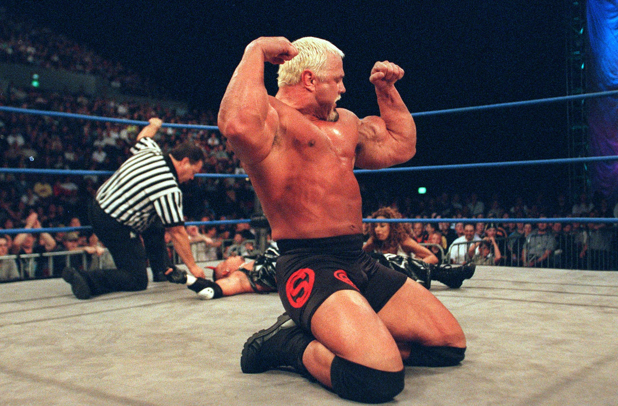 09 Oct 2000:  Scott Steiner celebrates defeating Ray Mysterio Jr after their bout at the World Chamionship Wrestling ''Thunder Down Under'' night at the Sydney Entertainment Centre, Sydney, Australia. Mandatory Credit: Scott Barbour/ALLSPORT