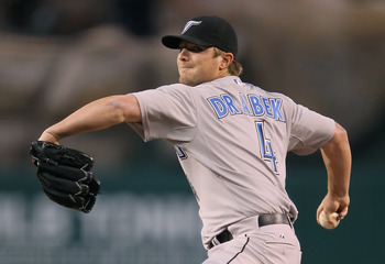 ANAHEIM, CA - APRIL 08:  Kyle Drabek #4 of the Toronto Blue Jays pitches against the Los Angeles Angels of Anaheim at Angel Stadium of Anaheim on April 8, 2011 in Anaheim, California.  (Photo by Jeff Gross/Getty Images)