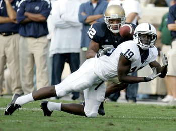 SOUTH BEND, IN - SEPTEMBER 09:  Chris Bell #19 of the Penn State Nittany Lions tries to make a third quarter catch in front of Ambrose Wooden#22 of the Notre Dame Fighting Irish on September 9, 2006 at Notre Dame Stadium in South Bend, Indiana. Notre Dame