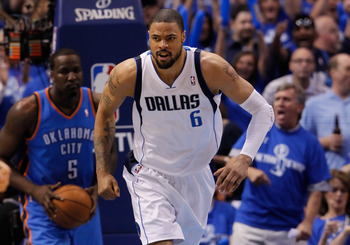DALLAS, TX - MAY 25:  Tyson Chandler #6 of the Dallas Mavericks reacts while taking on the Oklahoma City Thunder in Game Five of the Western Conference Finals during the 2011 NBA Playoffs at American Airlines Center on May 25, 2011 in Dallas, Texas. NOTE