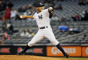 NEW YORK, NY - APRIL 16:  Mariano Rivera #42 of the New York Yankees delivers a ninth-inning pitch against the Texas Rangers on April 16, 2011 at Yankee Stadium in the Bronx borough of New York City. The Yankees defeated the Rangers 5-2.  (Photo by Jim Mc
