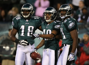 PHILADELPHIA - DECEMBER 27 :  DeSean Jackson #10 of the Philadelphia Eagles celebrates with teammates Jeremy Maclin #18 and Jason Avant #81 after scoring a touchdown in the first quarter againt the Denver Broncos at Lincoln Financial Field on December 27,