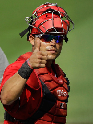 WASHINGTON, DC - MAY 15: Catcher Ivan Rodriguez #7 of the Washington Nationals gives the thumbs up to the crowd after the Nationals defeated the Florida Marlins 8-4  at Nationals Park on May 15, 2011 in Washington, DC.  (Photo by Rob Carr/Getty Images)