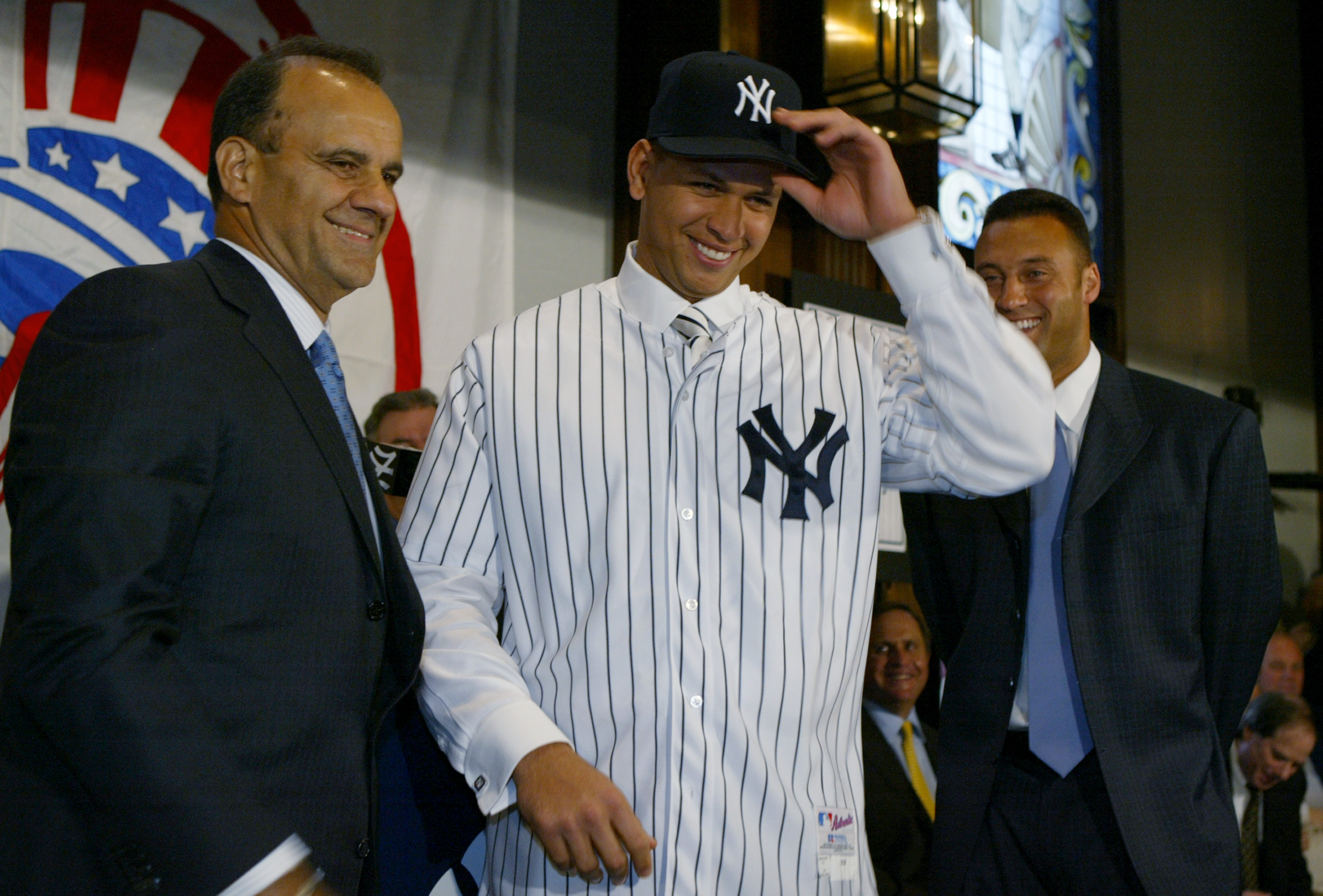 NEW YORK - FEBRUARY 17:  Alex Rodriguez is introduced as a New York Yankee by manager Joe Torre at a press conference on February 17, 2004 at Yankee Stadium in the Bronx, New York.  (Photo by Ezra Shaw/Getty Images)