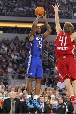 ARLINGTON, TX - FEBRUARY 14:  LeBron James #23 of the Eastern Conference shoots against Dirk Nowitzki #41 of the Western Conference during the first quarter of the NBA All-Star Game, part of 2010 NBA All-Star Weekend at Cowboys Stadium on February 14, 201