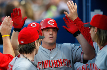 ATLANTA, GA - MAY 29:  Jay Bruce #32 of the Cincinnati Reds celebrates in the dugout after hitting a solo homer in the second inning against the Atlanta Braves at Turner Field on May 29, 2011 in Atlanta, Georgia.  (Photo by Kevin C. Cox/Getty Images)