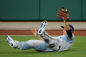 ANAHEIM, CA - JULY 13:  National League All-Star Ryan Bruan #8 of the Milwaukee Brewers dives to catch the ball during the 81st MLB All-Star Game at Angel Stadium of Anaheim on July 13, 2010 in Anaheim, California.  (Photo by Lisa Blumenfeld/Getty Images)