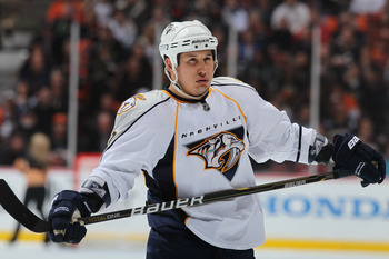 ANAHEIM, CA - APRIL 13:  Jordin Tootoo #22 of the Nashville Predators looks on against the Anaheim Ducks in Game One of the Western Conference Quarterfinals during the 2011 NHL Stanley Cup Playoffs at Honda Center on April 13, 2011 in Anaheim, California.