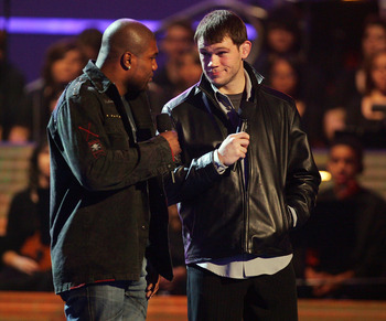 LAS VEGAS - DECEMBER 07:  FC Light Heavyweight Mixed Martial Arts Champion Quinton 'Rampage' Jackson (L) and mixed martial arts fighter Forrest Griffin speak at Spike TV's 2007 'Video Game Awards' at the Mandalay Bay Events Center on December 7, 2007 in L