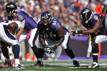 BALTIMORE, MD - OCTOBER 10: Ben Grubbs #66 of the Baltimore Ravens defends against the Denver Broncos at M&T Bank Stadium on October 10, 2010 in Baltimore, Maryland. Players wore pink in recognition of Breast Cancer Awareness Month. The Ravens defeated th