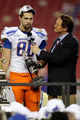 GLENDALE, AZ - JANUARY 04:  Kyle Efaw #80 of the Boise State Broncos answers questions from Fox Sports' Chris Myers  with his offensive MVP award after defeating the TCU Horned Frogs 17-10 during the Tostitos Fiesta Bowl at the Universtity of Phoenix Stad