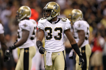 NEW ORLEANS - SEPTEMBER 09:  Jabari Greer #33 of the New Orleans Saints at Louisiana Superdome on September 9, 2010 in New Orleans, Louisiana.  (Photo by Ronald Martinez/Getty Images)