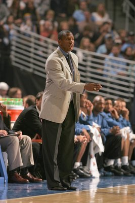 DENVER - NOVEMBER 3:  Head coach Dwane Casey of the Minnesota Timberwolves calls a play from the sidelines during the game against the Denver Nuggets at Pepsi Center on November 3, 2006 in Denver, Colorado.  The Timberwolves won 112-109.   NOTE TO USER: U