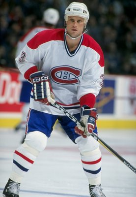 7 Mar 1998: Zarley Zalapski #3 of the Montreal Canadiens looks down the ice during a game against the Buffalo Sabres at the Molson Center in Montreal, Canada. The Sabres defeated the Canadiens 2-1.