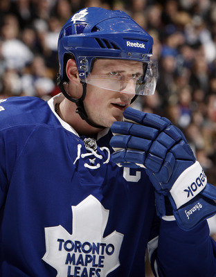 TORONTO, CANADA - FEBRUARY 26: Dion Phaneuf #3 of the Toronto Maple Leafs prepares for a faceoff during the game against the Pittsburgh Penguins at the Air Canada Centre February 26, 2011 in Toronto, Ontario, Canada. (Photo by Abelimages/Getty Images)