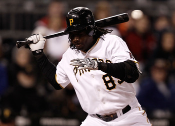 PITTSBURGH - MAY 08:  Lastings Milledge #85 of the Pittsburgh Pirates avoids getting hit by a pitch against the St Louis Cardinals during the game on May 8, 2010 at PNC Park in Pittsburgh, Pennsylvania.  (Photo by Jared Wickerham/Getty Images)