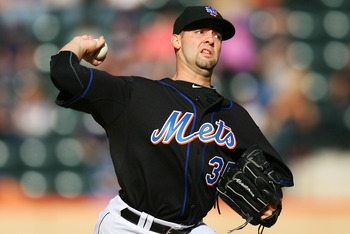 NEW YORK - SEPTEMBER 18:  Dillon Gee #35 of the New York Mets pitches against the Atlanta Braves on September 18, 2010 at Citi Field in the Flushing neighborhood of the Queens borough of New York City.  (Photo by Andrew Burton/Getty Images)