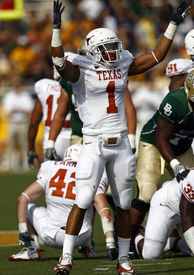 WACO, TX - NOVEMBER 14:  Linebacker Keenan Robinson #1 of the Texas celebrates after sacking quarterback Nick Florence #11 of the Baylor Bears in the second half on November 14, 2009 at Floyd Casey Stadium in Waco, Texas.  The Longhorns beat the Bears 47-