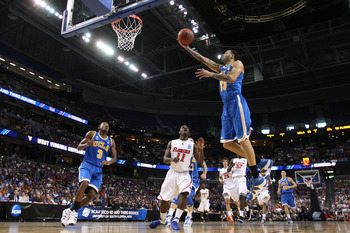 TAMPA, FL - MARCH 19:  Tyler Honeycutt #23 of the UCLA Bruins drives for a shot attempt against the Florida Gators during the third round of the 2011 NCAA men's basketball tournament at St. Pete Times Forum on March 19, 2011 in Tampa, Florida.  (Photo by