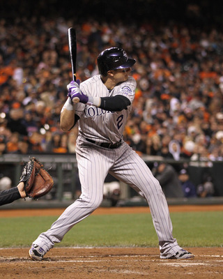 SAN FRANCISCO, CA - MAY 06:  Troy Tulowitzki #2 of the Colorado Rockies in action against the San Francisco Giants at AT&T Park on May 6, 2011 in San Francisco, California.  (Photo by Ezra Shaw/Getty Images)
