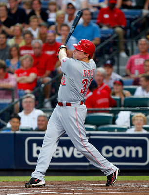 ATLANTA, GA - MAY 29:  Jay Bruce #32 of the Cincinnati Reds hits a solo homer in the second inning against the Atlanta Braves at Turner Field on May 29, 2011 in Atlanta, Georgia.  (Photo by Kevin C. Cox/Getty Images)
