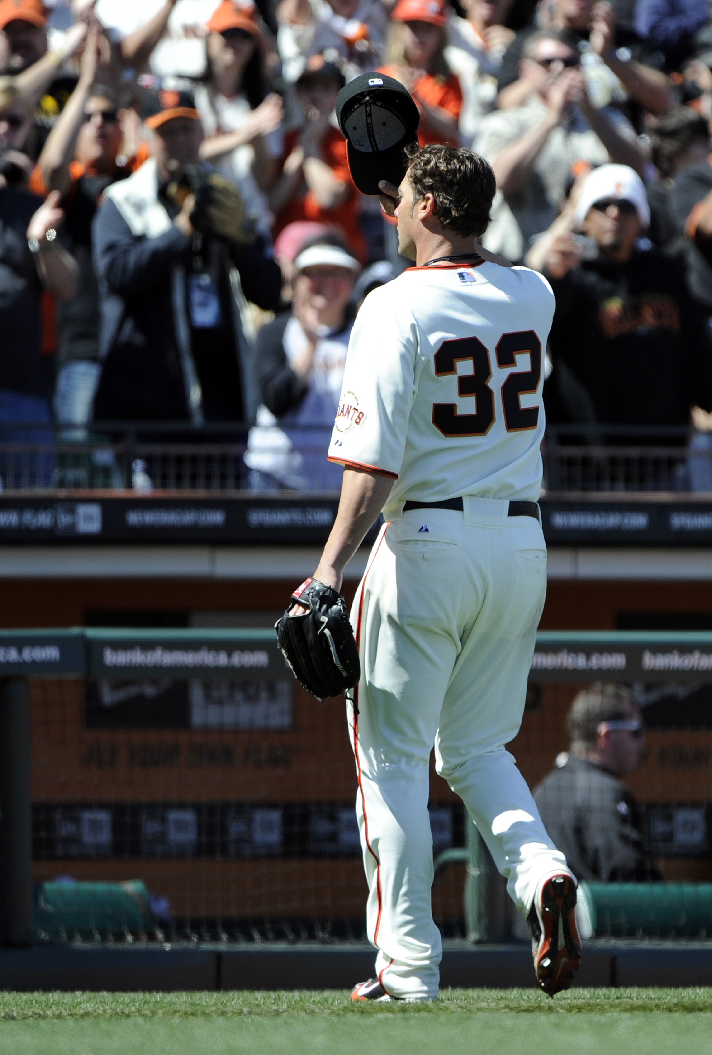 SAN FRANCISCO, CA - MAY 8: Ryan Vogelsong #32 of the San Francisco Giants tips his hat to the crowd after coming out of the game in the top of the seventh inning against Colorado Rockies at AT&T Park May 8, 2011 in San Francisco, California. The Giants wo