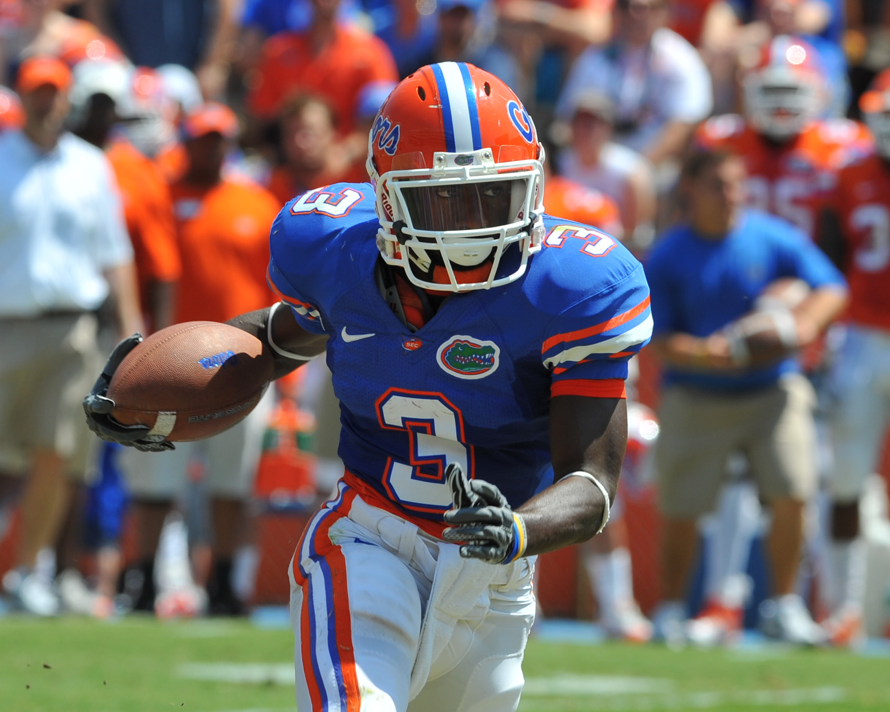 GAINESVILLE, FL - APRIL 9:  Running back Chris Rainey #3 of the Florida Gators runs upfield during the Orange and Blue spring football game April 9, 2011 at Ben Hill Griffin Stadium in Gainesville, Florida.  (Photo by Al Messerschmidt/Getty Images)