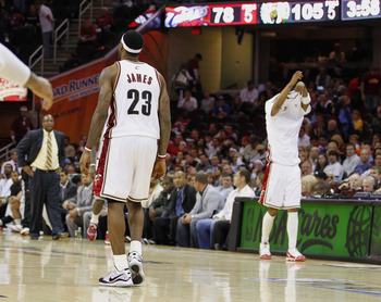 CLEVELAND - MAY 11:  LeBron James #23 of the Cleveland Cavaliers leaves the floor in the fourth quarter while playing the Boston Celtics in Game Five of the Eastern Conference Semifinals during the 2010 NBA Playoffs at Quicken Loans Arena on May 11, 2010